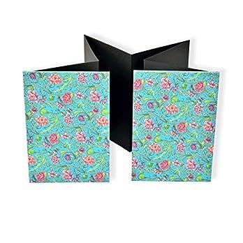 Leporello Fotoalbum, hardcover Faltbuch Fotos, schwarzer Fotokarton, Album mit Blumenmotiv, schönes Geschenk zur Geburt