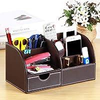 donfohy2837 suministros de oficina fuente de cuero multifunción escritorio papelería suministros de oficina, color marrón 28cm * 14.5cm * 14.5cm