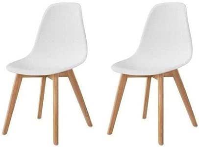 SACHA Lot de 2 chaises de salle a manger blanc Pieds en bois hévéa massif Scandinave L 48 x P 55 cm