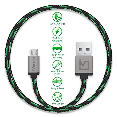 iVoltaa Pixie Micro USB to USB 2.0 Braided Cable   4 Feet  1.2 Meter    Yoda Green