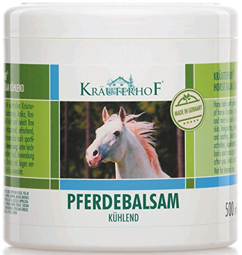 """Pferdebalsam kühlt und belebt, wertvolle Kräuterextrakte aus Rosskastanie, Arnika, Rosmarin und Minzöl""""Kräuterhof"""" 500ml Dose mit Alufolie versiegelt"""