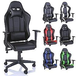 TRESKO Racing Drehstuhl Bürostuhl Sportsitz Chefsessel Gaming Stuhl 6 Farbvarianten, Wippmechanik, stufenlos Verstellbare Rückenlehne (Schwarz)