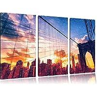 Manhattan tramonto Bunstift effetto di immagine 3 PC immagine su tela 120x80 su tela a, XXL enormi immagini completamente Pagina con la barella, stampe d'arte sul murale cornice gänstiger come la pittura o un dipinto ad olio, non un manifesto o un