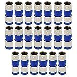 ESUMIC® RG6 F Tipo di compressione Connettore a spina a tenuta stagna Connettore coassiale di compressione coassiale 20Pack (2 azzurro)