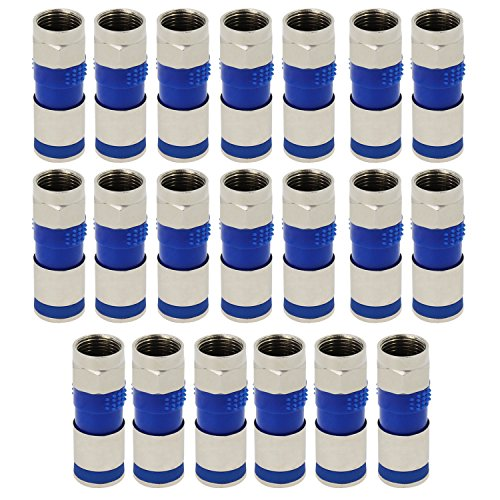 ESUMIC® RG6 F Type Compression Snap Seal Plug Connector Coax Coaxial Compression Fitting 20Pack (2, Blau) - Rg6-snap