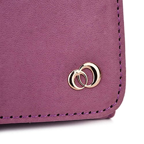 Kroo Téléphone portable en véritable cuir d'embrayage pour Huawei Ascend Mate7Monarch noir noir violet