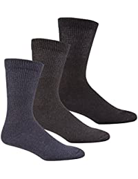 Zest Mens 3 Pack of Diabetic Socks 6-11 Black Grey Blue