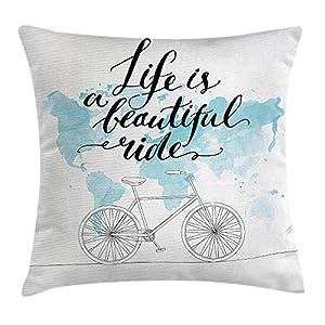 Funda de cojín para bicicleta, inspirador ciclismo con mapa del mundo reflectante, ilustración deportiva de motivación, funda de almohada decorativa, cuadrada, 45,7 x 45,7 cm, color azul y blanco