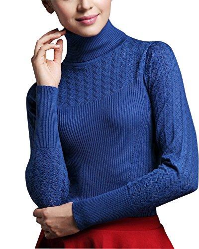 Donna Casual Maglione A Collo Alto Maniche Lunghe Sottile Pullover Blu zaffiro