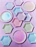Talking Tables We Heart; Pastelfarbene kleine sechseckige Pappteller für Geburtstagspartys und andere Feste, Bunt, 16,5 x 19 cm (12 pro Pack in 6 Designs) - 3