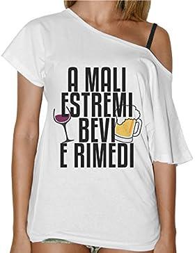 T-Shirt Donna Collo A Barca Simpatica A Mali Estremi Bevi E Rimedi