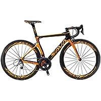 SAVADECK Phantom 2.0 700C Bicicleta de Carretera de Fibra de Carbono Shimano Ultegra R8000 22-Velocidad Sistema Michelin 25C Neumáticos Fi'zi: k Cojín (56cm, Negro Naranja)