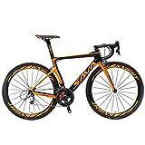 SAVADECK Phantom 2.0 700C Vélo de Route Fibre de Carbone SHIMANO 6800 22-Vitesses Système HUTCHINSON 700C*25C Pneus Fi'zi: k Coussin (Orange,540mm)