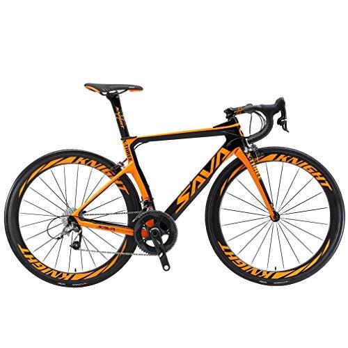 Sava Vélo de route 22vitesses Shimano Ultegra 8000 en fibre de carbone Phantom3.0 700C, avec pneus Michelin 25C et selle Fizik, Homme, noir/orange, 52 cm