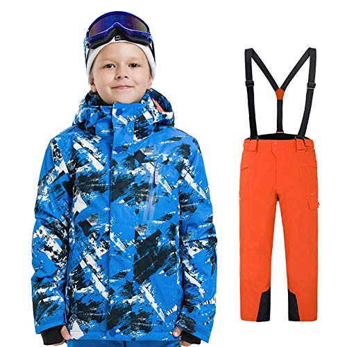 LPATTERN Traje de Esquí para Niños/Niñas Traje Conjunto de Nieve Impermeable para Deportes de Invierno, Azul B+Naranja, 120/5-6 años