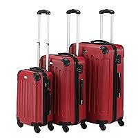 VonHaus 3 Piece Red Lightweight Extra Strong ABS Hard Shell Luggage Set