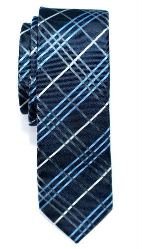 Retreez Herren Schmale Gewebte Krawatte Tartan Plaid Karo Manier 5 cm - marineblau (Plaid-krawatte Blaue)