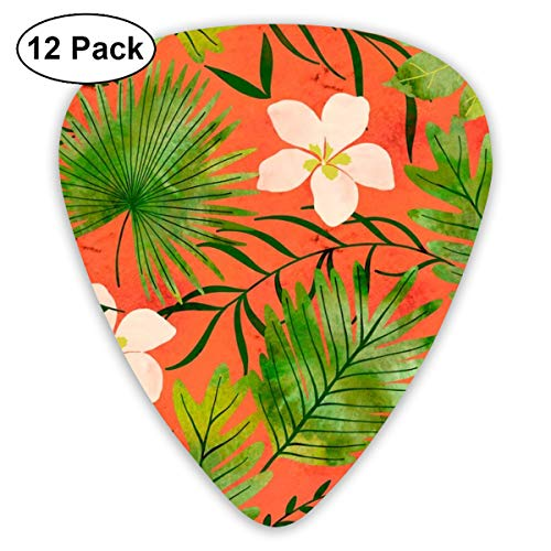 Hawaiian Tropical Floral Watercolor - Living Coral_3980 Classic Celluloid Picks, 12-Pack, For Electric Guitar, Acoustic Guitar, Mandolin, And Bass