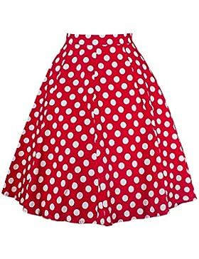 Yonglan Mujer Vintage Floral Faldas Swing Full Circle Casual Falda Retro Plisada Falda Rojo Dot XXL