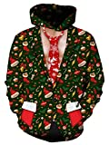 Weihnachten mit Kapuze, Chicolife Gentleman Weihnachten Dekoration Krawatte 3D Print Tunnelzug stilvolle Fleece Pullover Hoodie Sweatshirt für herren junge grüne XX-Large