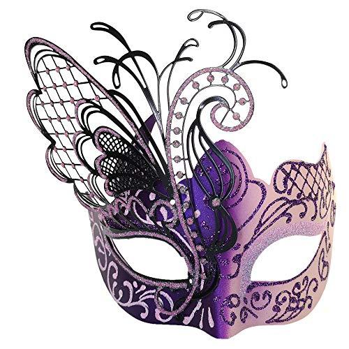 CCUFO [Flying Butterfly] Rosa / lila Gesicht [funkelnden Flügel] Laser Cut Metall venezianischen Frauen Maske Maskerade / Party / Ball Prom / Mardi Gras / Hochzeit / Wanddekoration
