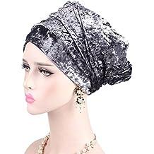 Ssowun Fletion Sombrero de terciopelo bufanda Sombrero De Bufanda Envuelva  la tapa del turbante de la df14e820541