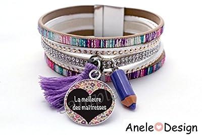 Bracelet manchette Cadeau Maîtresse! - La meilleure des Maîtresses - crayon violet pompon cabochon verre violet blanc vert rose