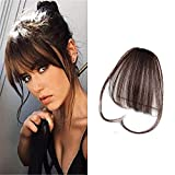 LaaVoo One Piece Clip in Extensions Echthaar Dunkelbraun Fringe Air Bangs mit Clips 100% Remi Haar Extensions