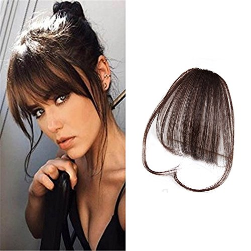 LaaVoo Clip in Extension Capelli Veri Frangia Marrone Scuro Bangs Hair Remi Naturali Umano Brasiliano Legato a Mano