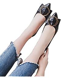 6cm schwarz spitze Schuhe flache Ferse High Heels runde Schnalle professionelle Arbeitsschuhe ( Farbe : Black6cm
