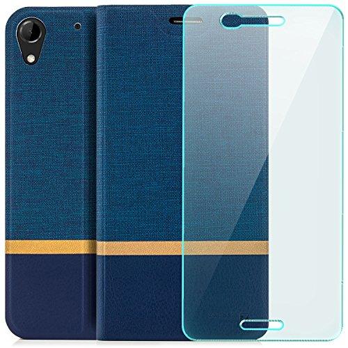 zanasta Tasche + Displayschutz kompatibel mit HTC Desire 728G Dual SIM | Hülle Flip Case Schutzhülle Handytasche mit Kartenfach Blau