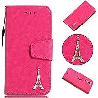 BONROY® Schlichte Einfarbige Hülle für Sony Xperia E5 Brieftasche in Lederoptik, Schale mit Karteneinschub, Etui, Buchstil Geldbörse-(YB Diamond Tower - Rot)