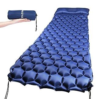 Gaoqian Ultraligera Esterillas Colchón Aire con Almohada Cómoda Colchoneta Portátil para Acampada, Senderismo, Playa o Ejercicio del Aire Libre para Dormir(Gris)