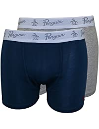 Original Penguin 2-Pack Keyhole Men's Boxer Briefs, Blue/Heather Grey