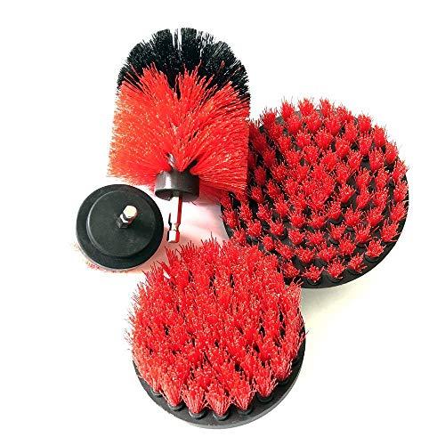 Dupeakya Bohrmaschine Bürstenaufsatz Bohrbürsten Befestigung Scrubber Reinigung Kit zum Reinigen der Autodusche Fliesenräder Teppichmörtel Polster 4PCS Rot