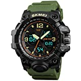 SKMEI Analogue-Digital Men's Watch (Black Dial Green Colored Strap)