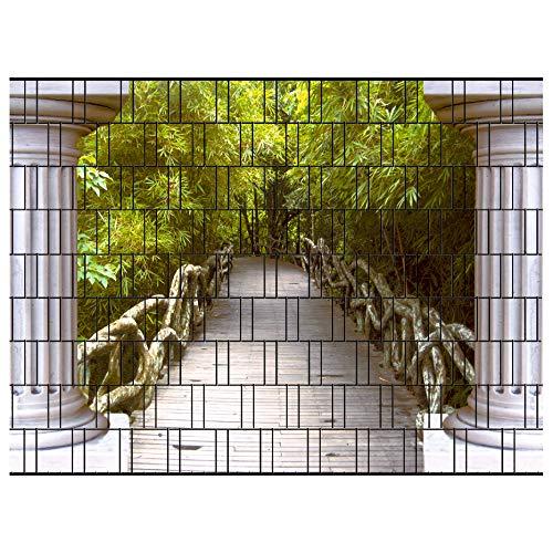 PerfectHD Zaunsichtschutz | 30 Motive | Sichtschutzstreifen für Doppelstabmattenzaun | Windschutz Sonnenschutz Blickdicht | 2,50m x 1,80m | 19cm | 9 Streifen | Thailand