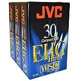 JVC-Juego de 3 Cintas de vídeo VHS-C -série EHG 30 Minutos