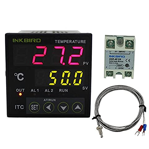 Inkbird Dual Digital Pid Temperature Controller 2 Omron Relay Output 220V ITC-100VH with K-Type Temperature Sensing Thermocouple and 40DA SSR Solid State Relay