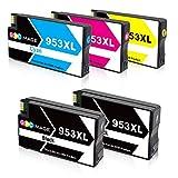 5 GPC Image 953XL Remanufactured Druckerpatronen für HP 953 XL Kompatibel mit HP Officejet Pro 8710 8715 8718 8719 8720 8725 8730 8740 7740 8218 All-in-One Drucker (2 Schwarz,1 Cyan,1 Magenta,1 Gelb)