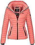 Marikoo Damen Jacke Steppjacke Übergangsjacke mit Kapuze gesteppt B600 [B600-Samt-Coral-Gr.XS]