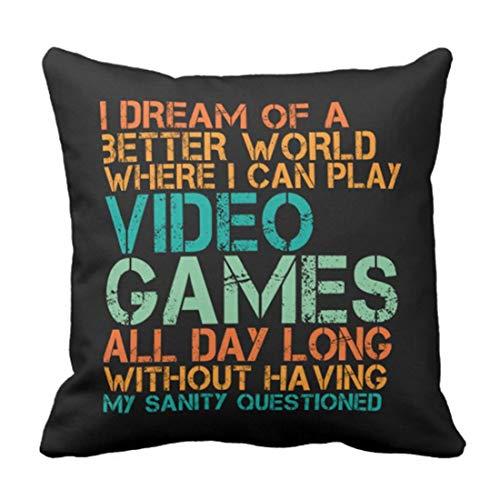 Jhonangel Throw Pillow Cover Funny Quote para Videojuegos Geek and Gamer Funda de Almohada Decorativa Decoración para el hogar Plaza 18 x 18 Pulgadas Cojín Cojín