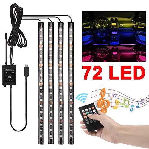 Innenbeleuchtung LED 4x18 LEDs Innenraumbeleuchtung Innenraum Atmosphäre Licht mit USB-Port und IR-Drahtlose Steuerung Dekorationen für zimmer, wohnzimmer, TV, sofa