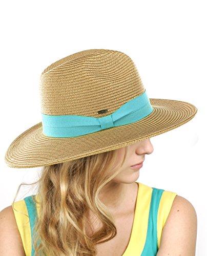 NYfashion101 Leichter mit solidem Farbenband umspannter Panama Fedora Sonnenhut Panama Fedora