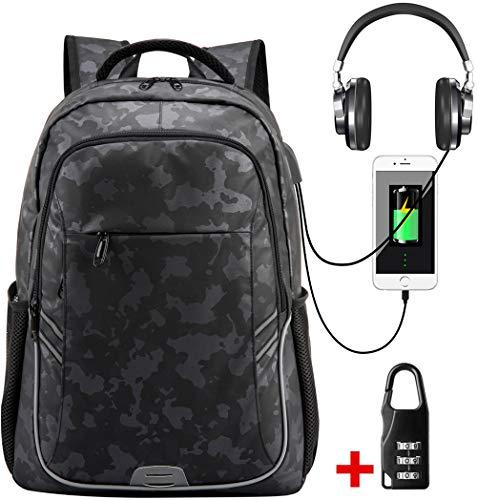 Mochila Hombre de Viaje para Ordenador portátil con Puerto USB Profesional Impermeable Bolso Antirrobopara Escuela Computadora Portátil de 15.6 Pulgadas Negro Camouflage