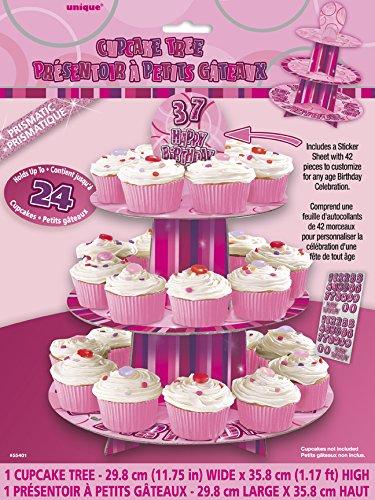 Unique Party Soporte para Cupcakes Personalizable, Color Rosa Brillante (55401)