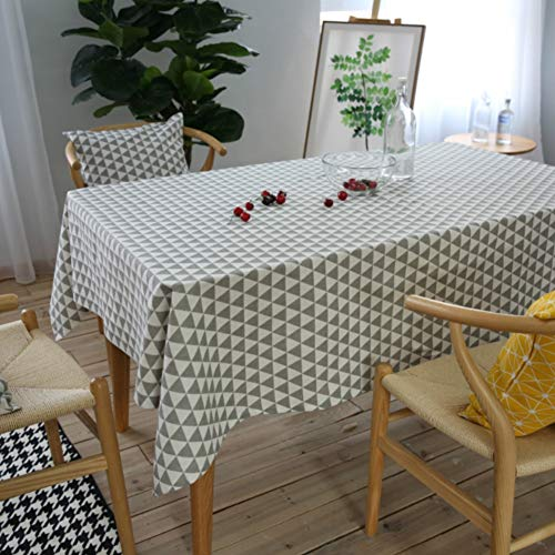 Zmylove tovaglia triangolare, tovaglia di lino in cotone tovaglia moderna geometrica rettangolo copertura tenda in cotone poliestere impermeabile per la cucina home decor,width140*long160cm