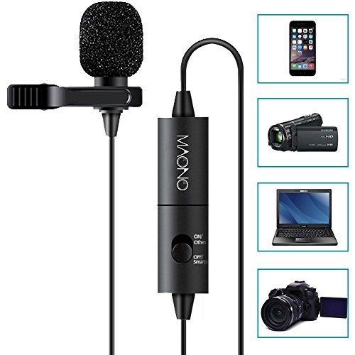 MAONO Lavalier Microfono Mani Libere Clip-on Lapel Mic con Omnidirezionale Condensatore per DSLR, Fotocamera,iPhone,Android,Samsung,Sony,PC,Laptop (236 in)