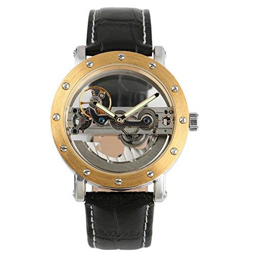 ESS Herren Golden Case Skelett Antik self-wind bis Mechanische Leder Automatik Uhr WM319–4