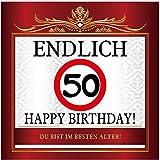 Aufkleber zum Geburtstag mit Text und Zahl - Endlich 50